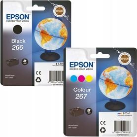 2X TUSZ EPSON 266 BLACK + 267 KOLOR WF-100W
